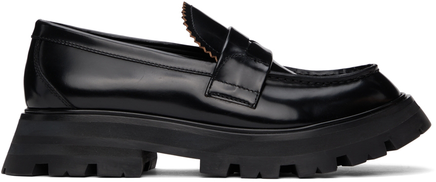 Alexander Mcqueen Worker Polished Leather Loafers In Black