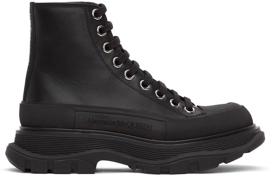 Alexander McQueen Black Leather Tread Slick Sneakers