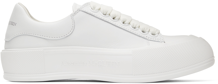 Alexander McQueen White Leather Deck Plimsoll Sneakers