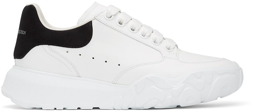 Alexander McQueen White & Black Court Trainer Sneakers