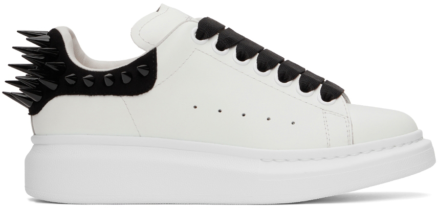 Alexander McQueen White & Black Spike Oversized Sneakers