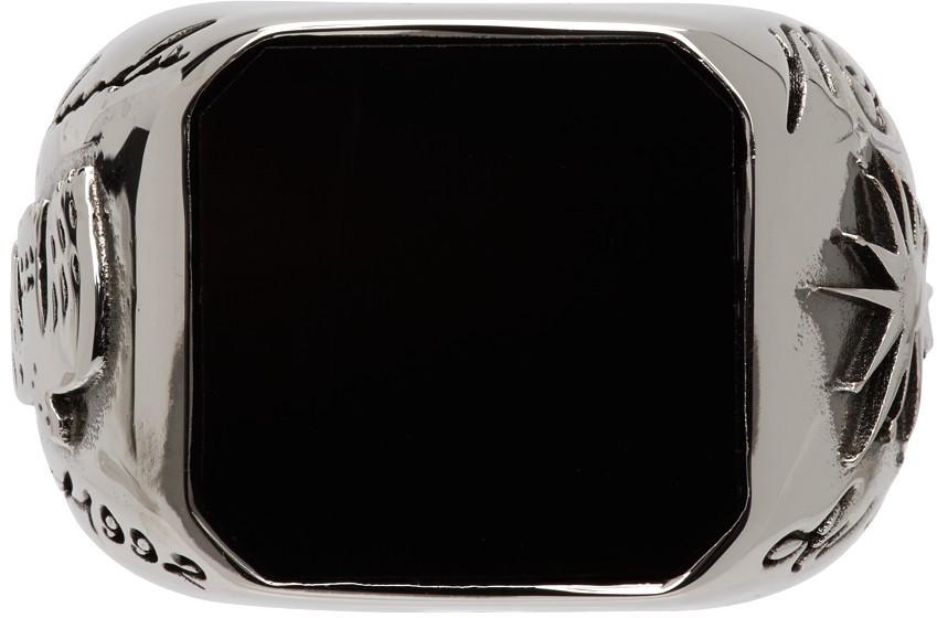 Silver & Black Stone Signet Ring
