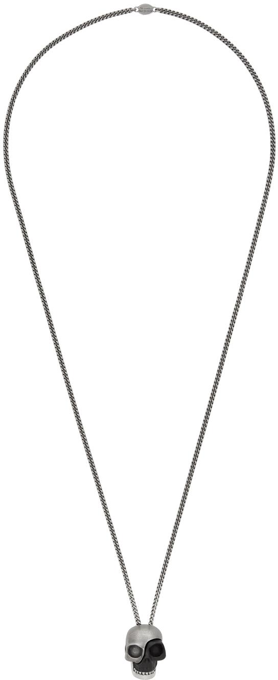 Silver & Black Divided Skull Pendant Necklace