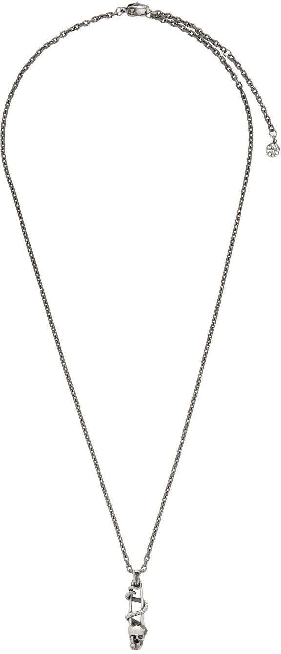 Silver Safety Pin Skull Necklace