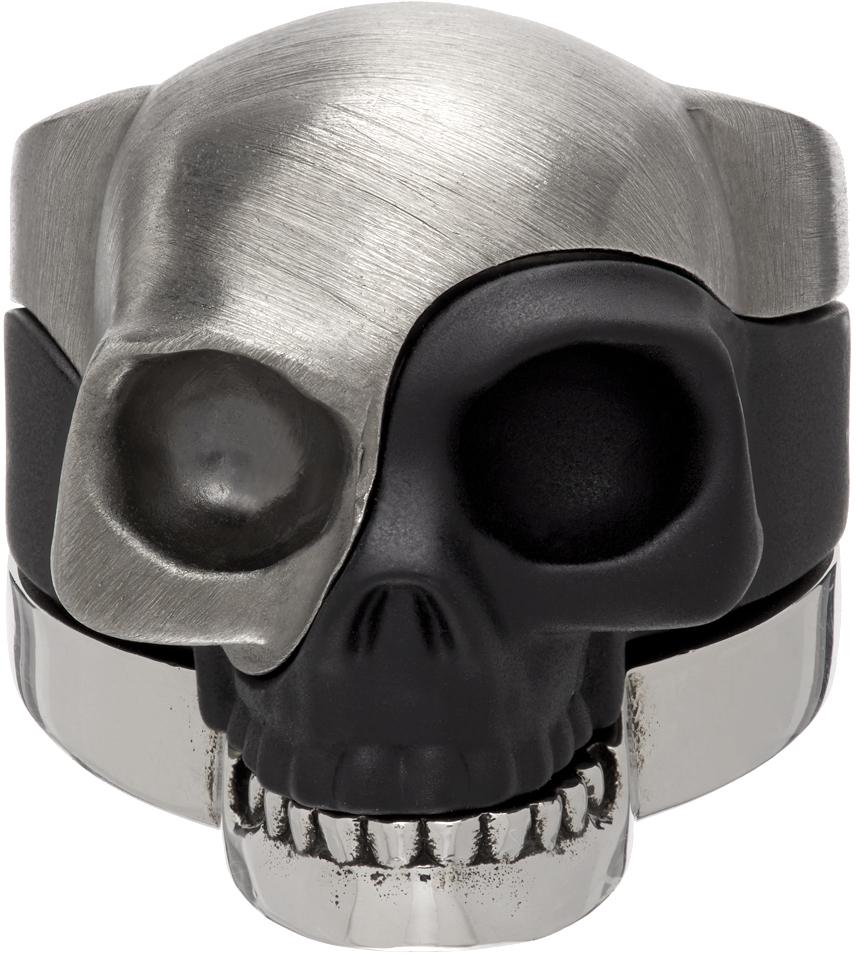 Silver & Black Divided Skull Ring