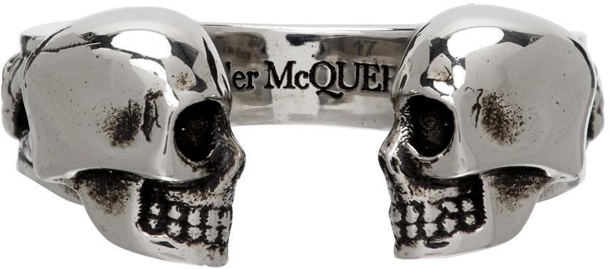 Silver Twin Skull Ring