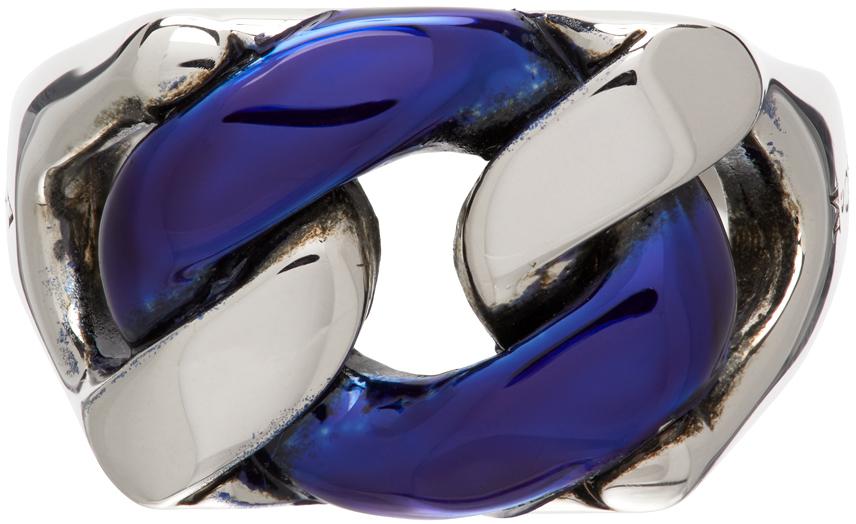 Silver & Blue Chrome Chain Ring