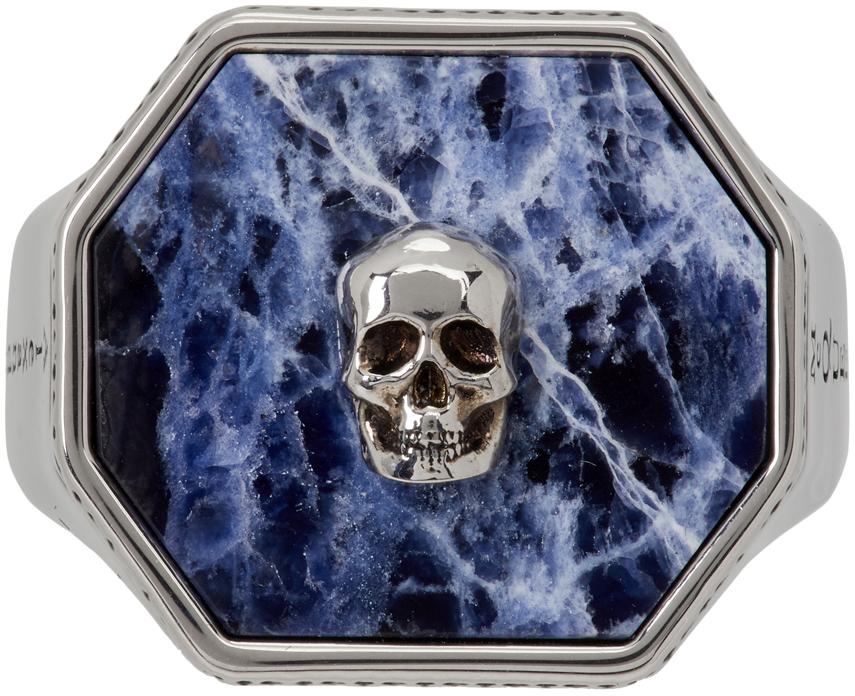 Silver & Blue Sodalite Skull Signet Ring