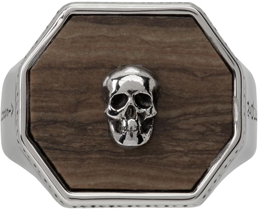 Silver & Brown Skull Signet Ring