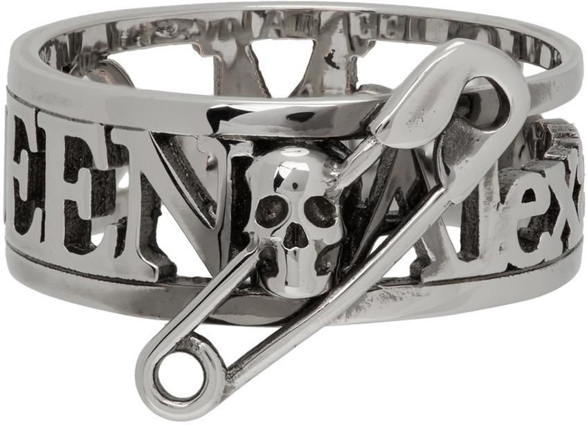 Silver Skull Safety Pin Ring