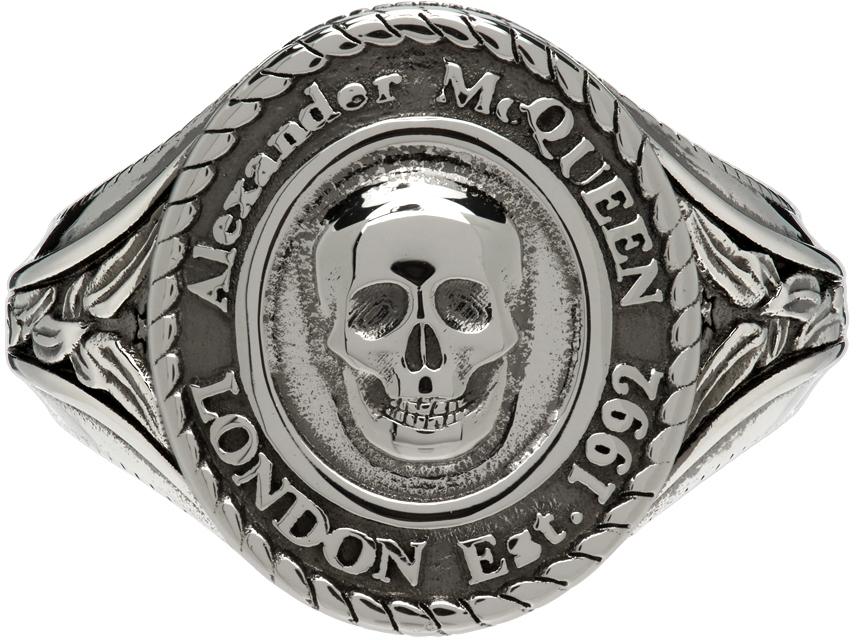 Silver Medallion Skull Signet Ring