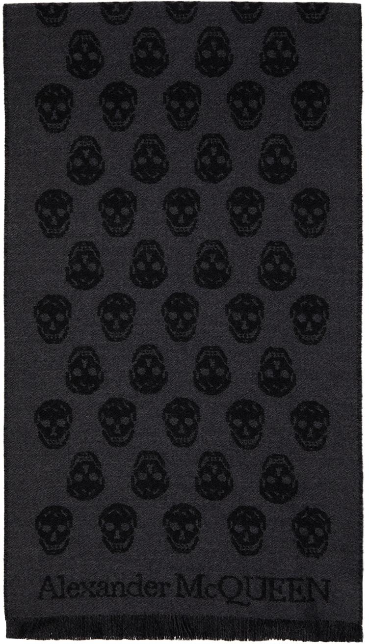 Reversible Grey & Black Skull Scarf