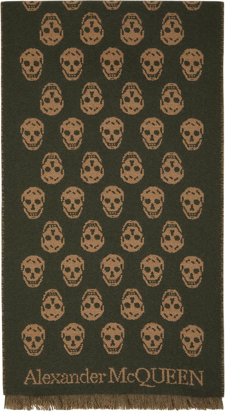 Reversible Green & Brown Skull Scarf