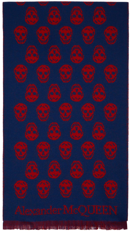 Reversible Blue & Red Skull Scarf