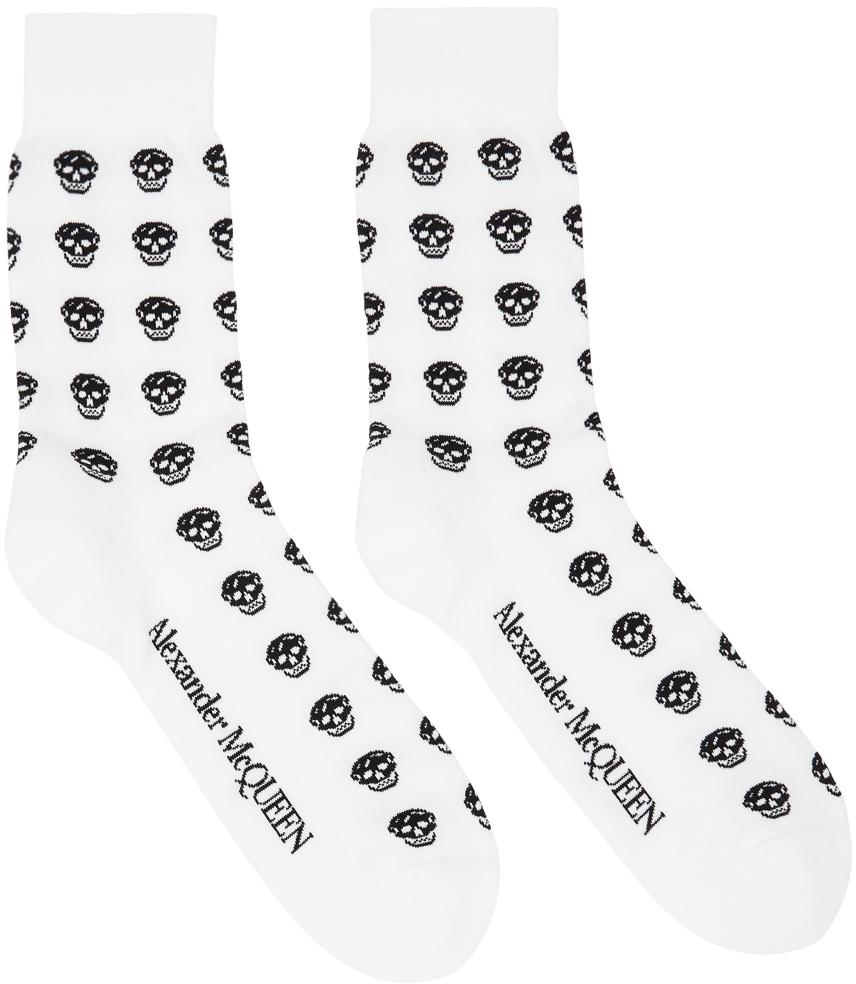 White & Black Skull Sport Short Socks