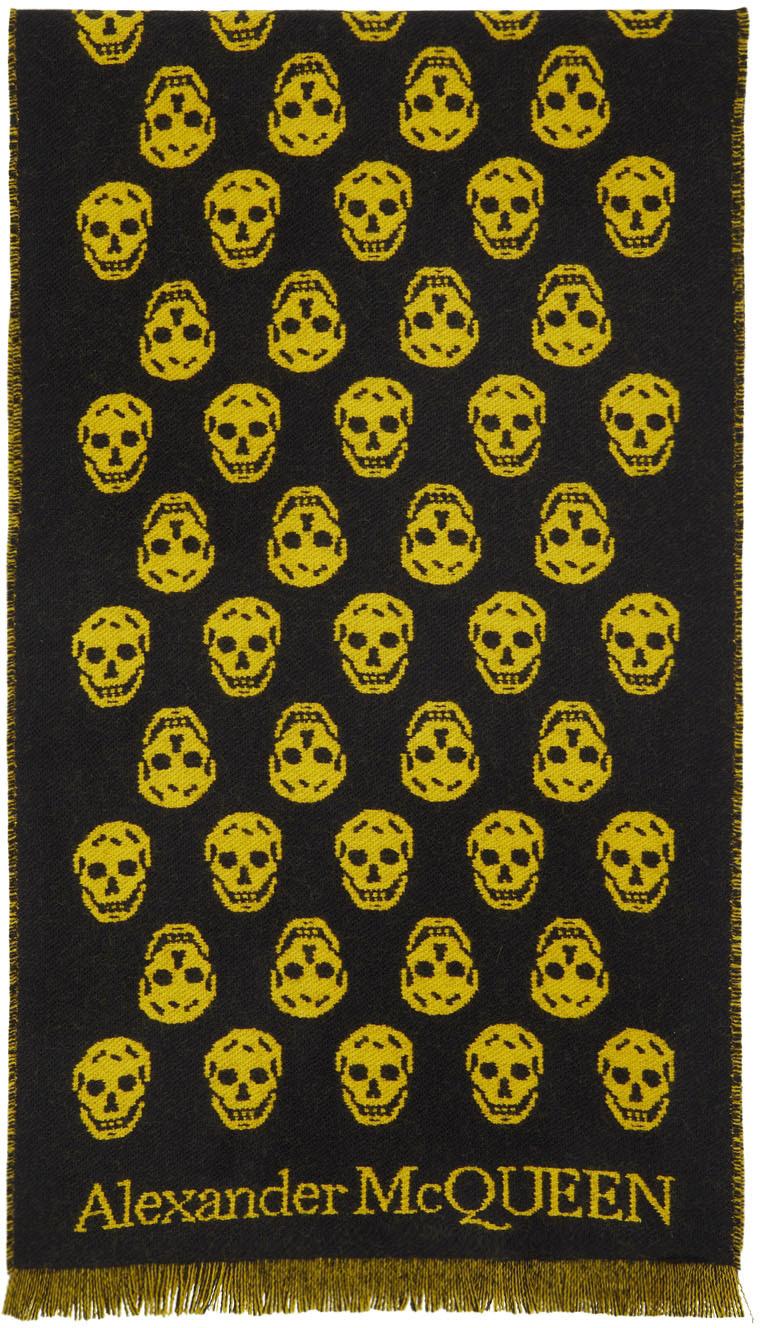 SSENSE Exclusive Reversible Yellow & Black Skull Scarf