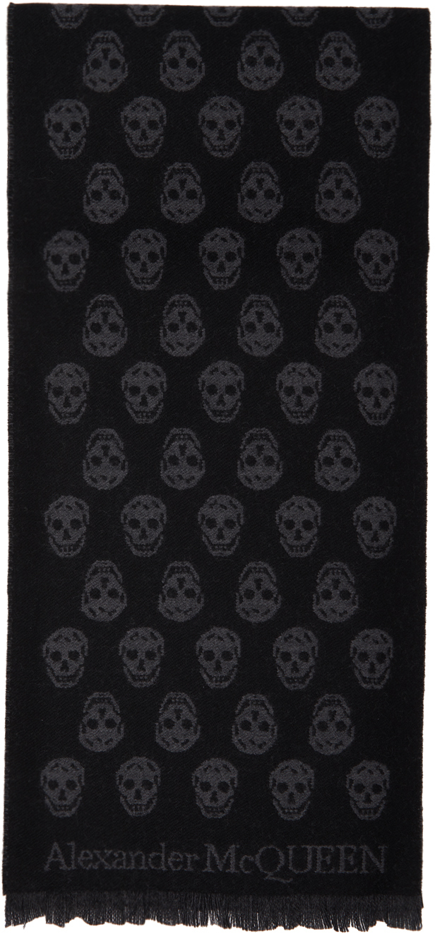 SSENSE Exclusive Black Wool All Over Skull Scarf