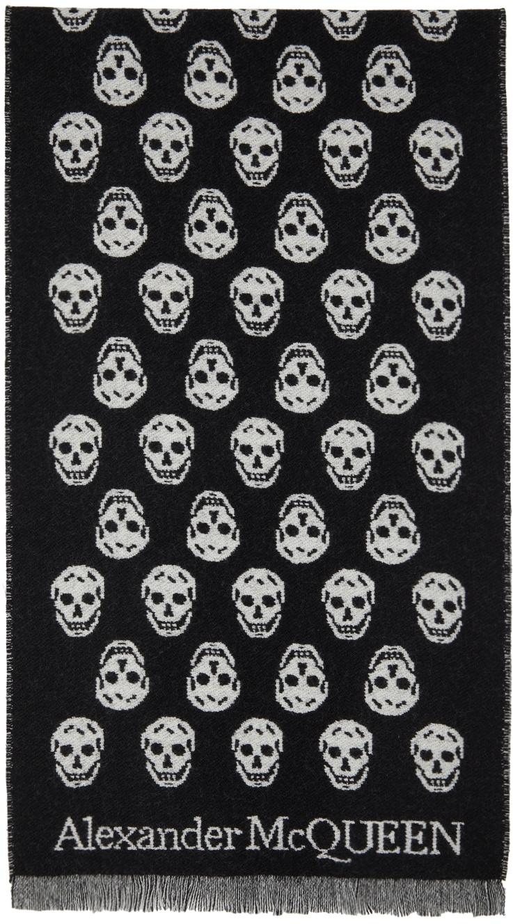 SSENSE Exclusive Black & Grey Upside Down Skull Scarf