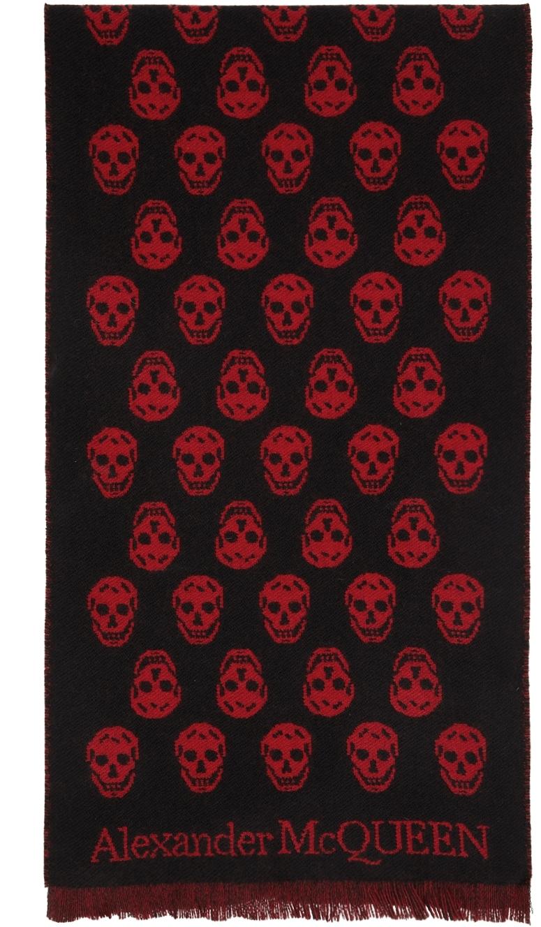 SSENSE Exclusive Reversible Red & Black Skull Scarf
