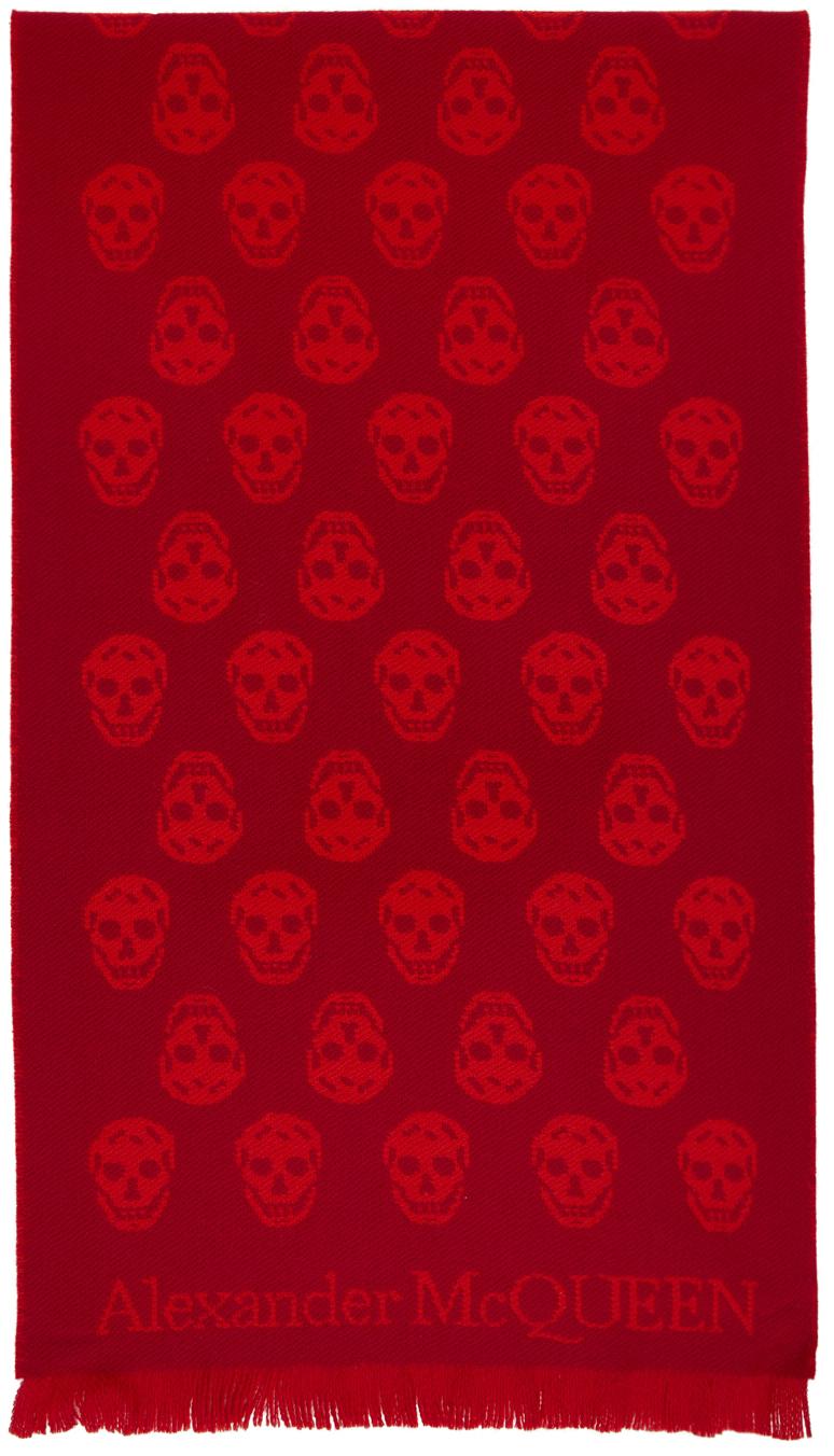 Reversible Red & Orange Skull Scarf
