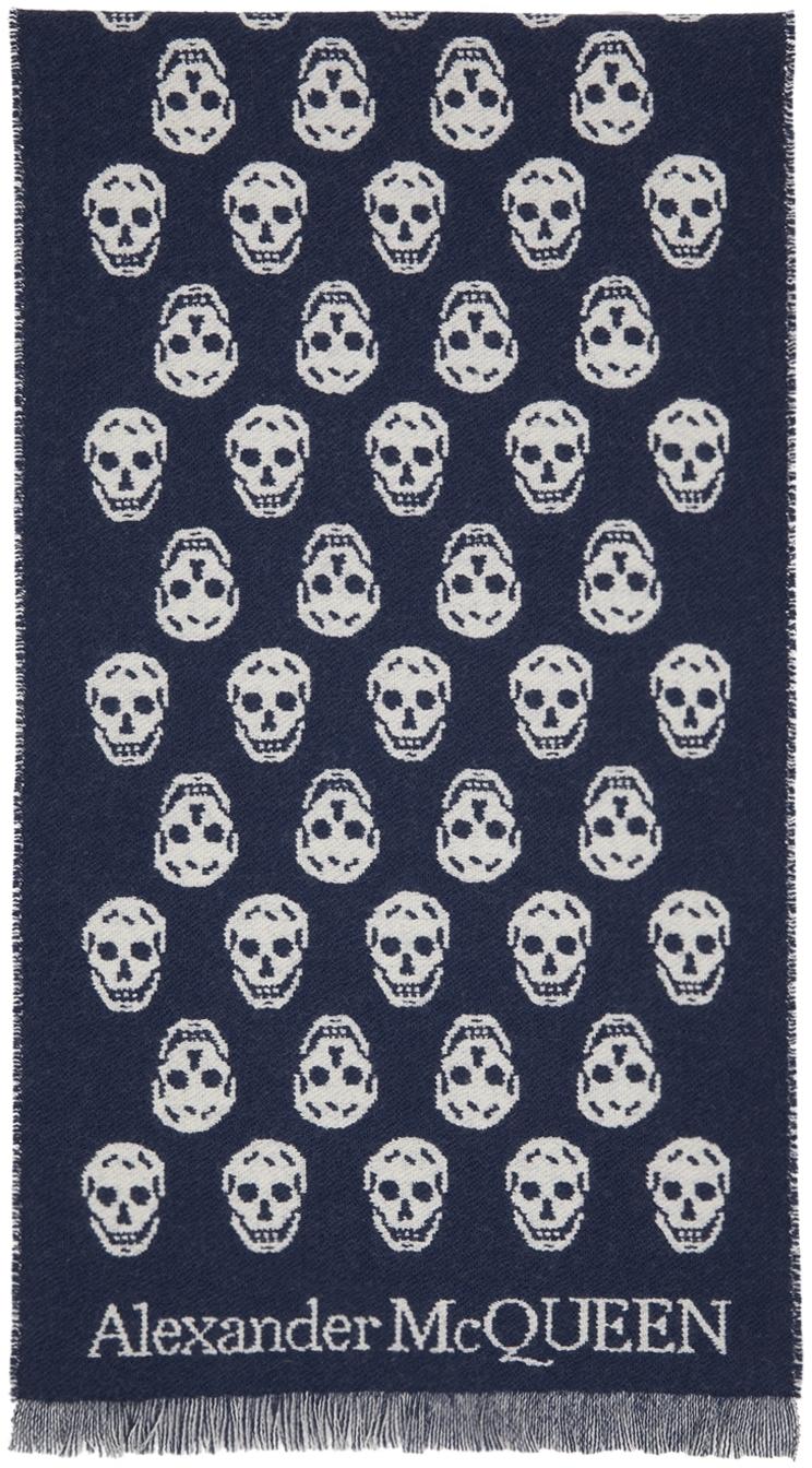 Reversible Navy & Off-White Skull Scarf