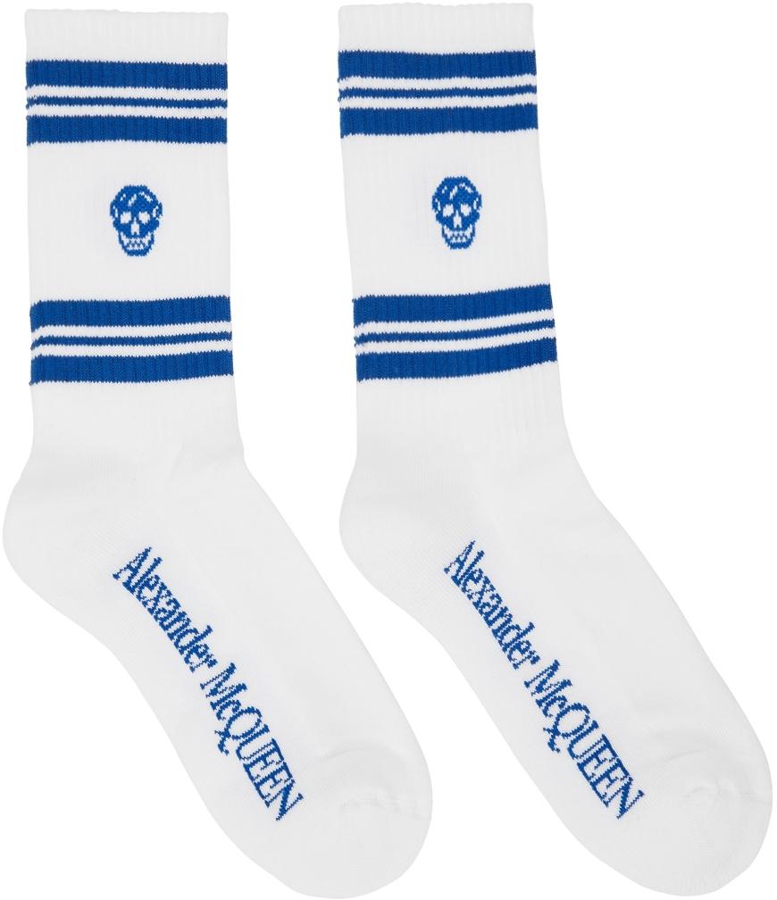 White & Blue Skull Sport Socks