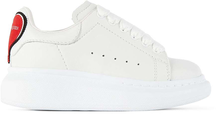 Alexander McQueen Kids White Heart Tab Sneakers