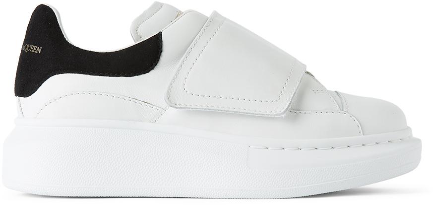 Alexander McQueen Kids White & Black Suede Tab Velcro Oversized Sneakers