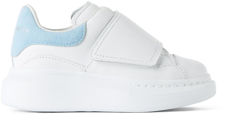 Alexander McQueen Kids White & Blue Suede Tab Velcro Oversized Sneakers