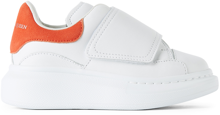 Alexander McQueen Kids White & Orange Suede Tab Velcro Oversized Sneakers
