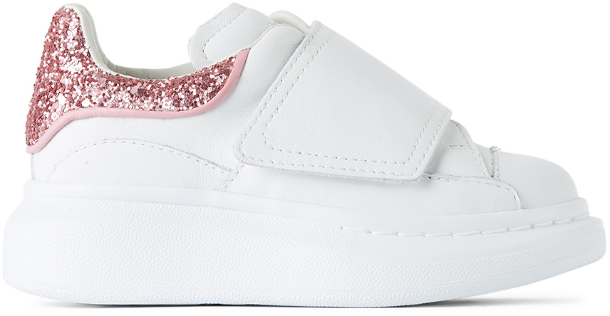 Alexander McQueen Kids White & Pink Glitter Tab Velcro Oversized Sneakers