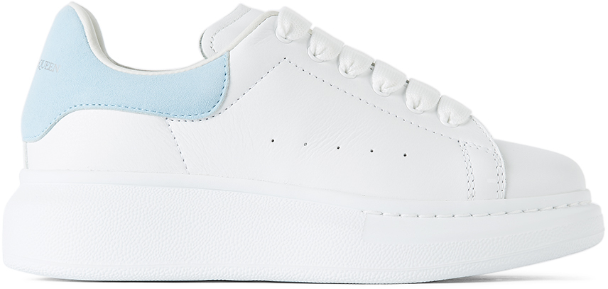 Alexander McQueen Kids White & Blue Suede Tab Oversized Sneakers