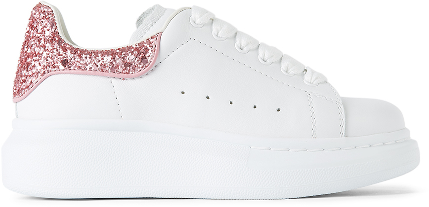 Alexander McQueen Kids White & Pink Sparkle Tab Oversized Sneakers