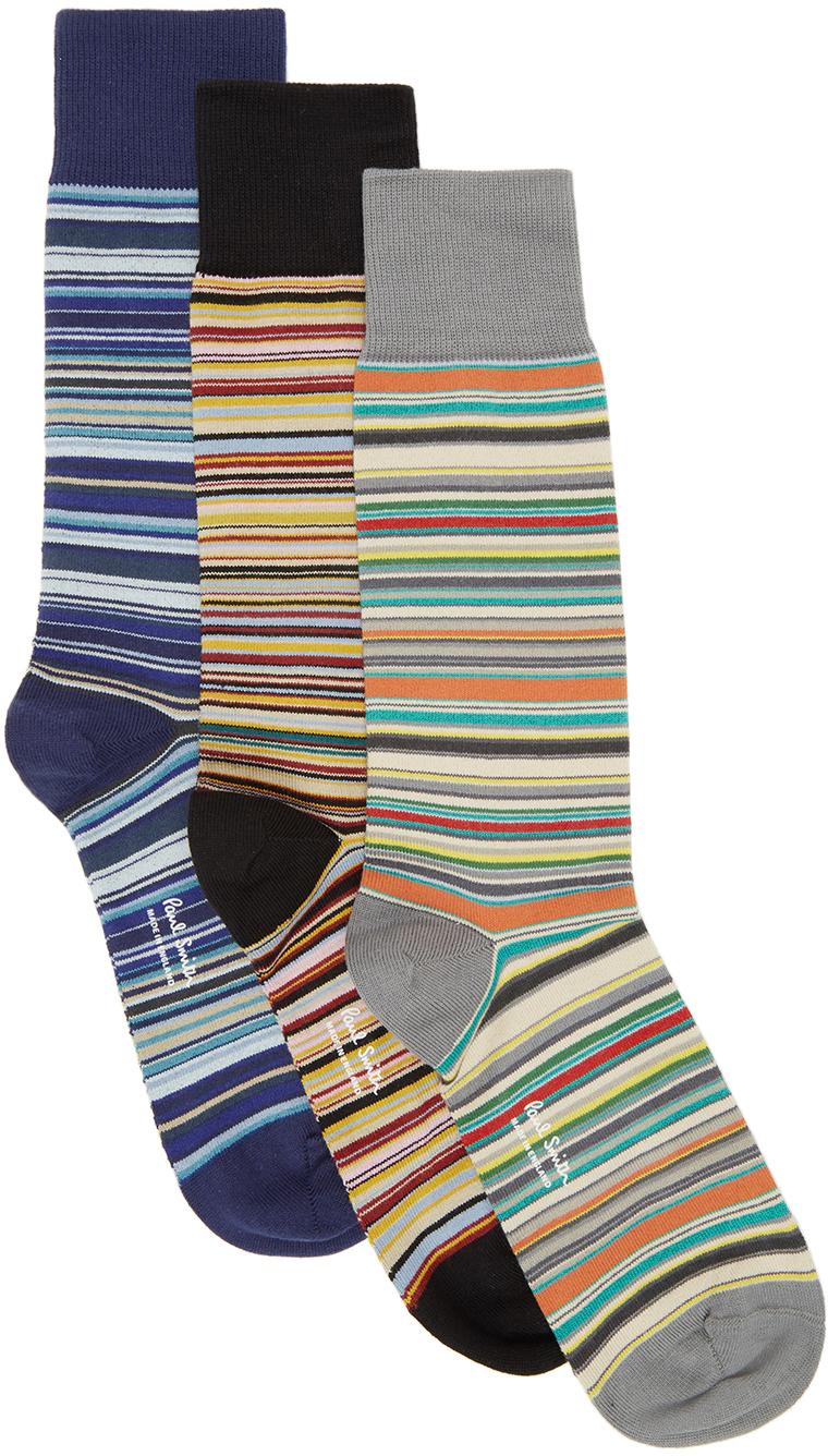 Three-Pack Multicolor Multi Stripe Socks