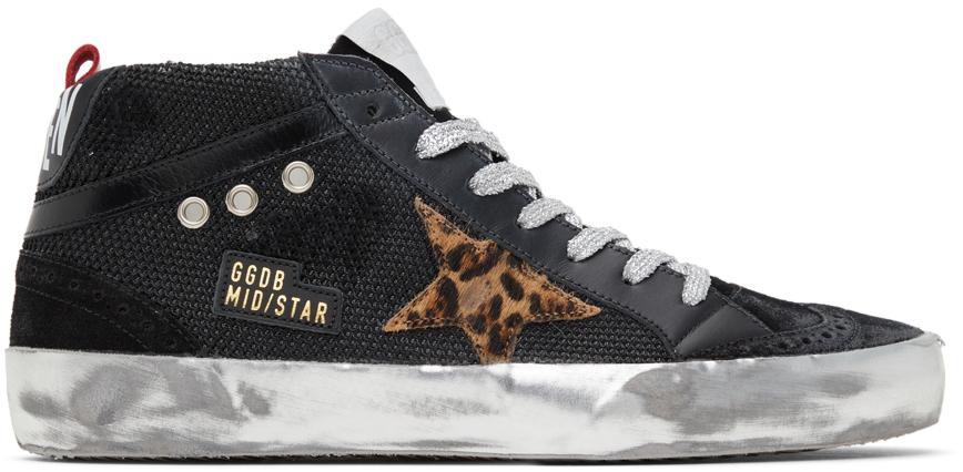 Golden Goose Mesh & Suede Mid Star Sneakers
