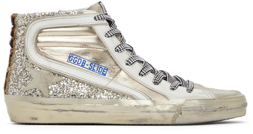 Golden Goose Glitter Slide High-Top Sneakers