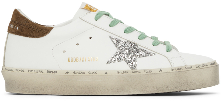 Golden Goose Leather & Glitter Hi Star Sneakers