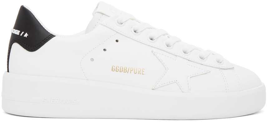 Golden Goose White & Black Pure Star Sneakers