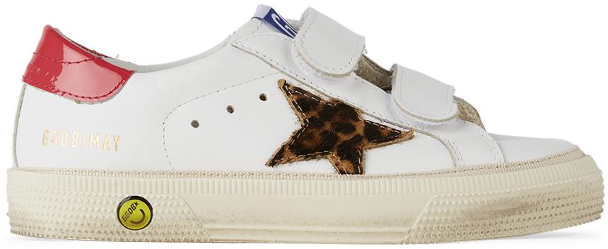 Golden Goose Kids White & Leopard May School Velcro Sneakers
