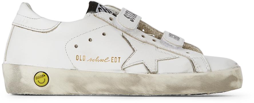 Golden Goose Kids White Old School Velcro Sneakers