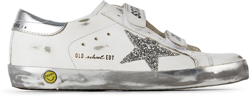 Golden Goose Kids White & Silver Glitter Old School Velcro Sneakers