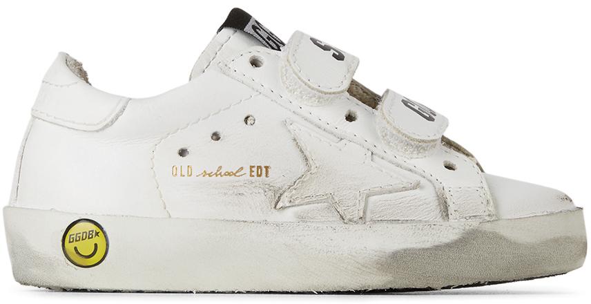 Golden Goose Baby White Old School Velcro Sneakers