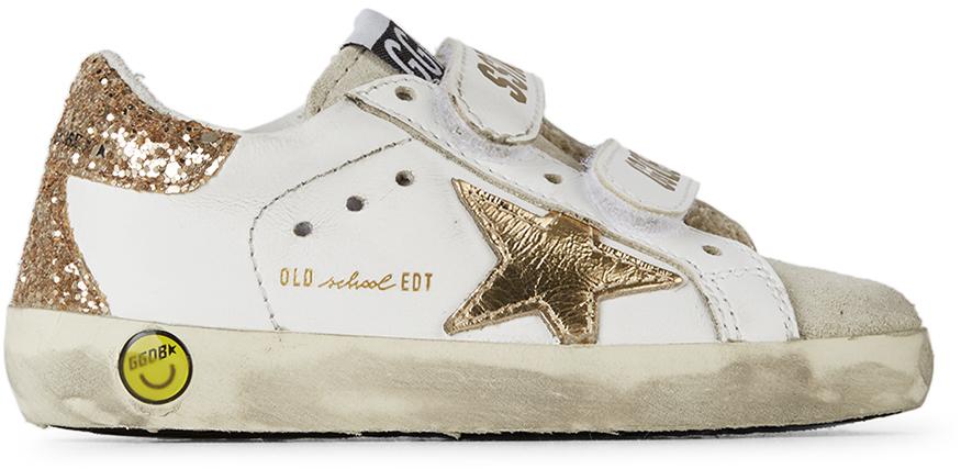 Golden Goose Baby White & Gold Glitter Old School Spur Velcro Sneakers