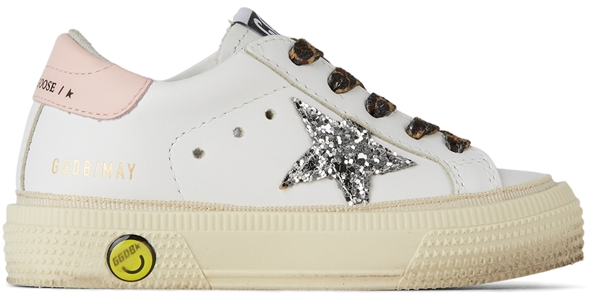 Golden Goose Baby White & Silver Glitter May Sneakers