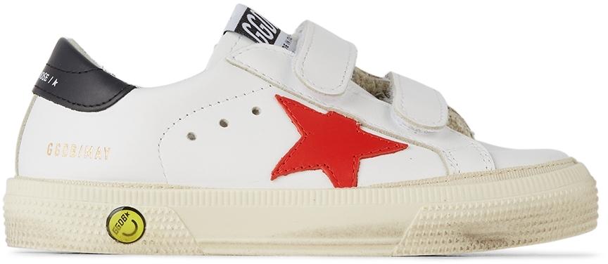 Golden Goose Baby White & Red May School Velcro Sneakers