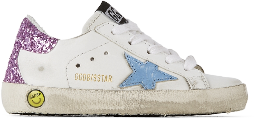 Golden Goose Baby White & Pink Glitter Super-Star Spur Sneakers