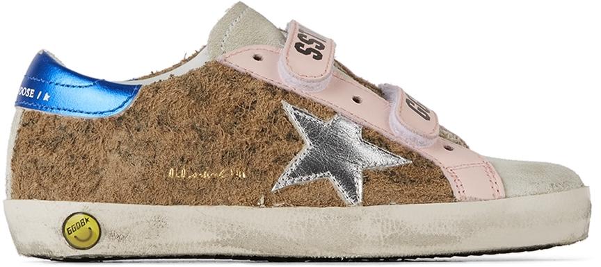 Golden Goose Baby Tan Leopard Old School Velcro Sneakers
