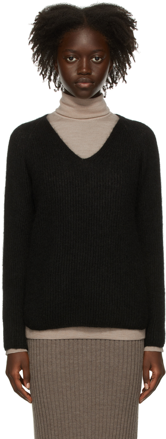 Black Mohair Gattoni V-Neck Sweater