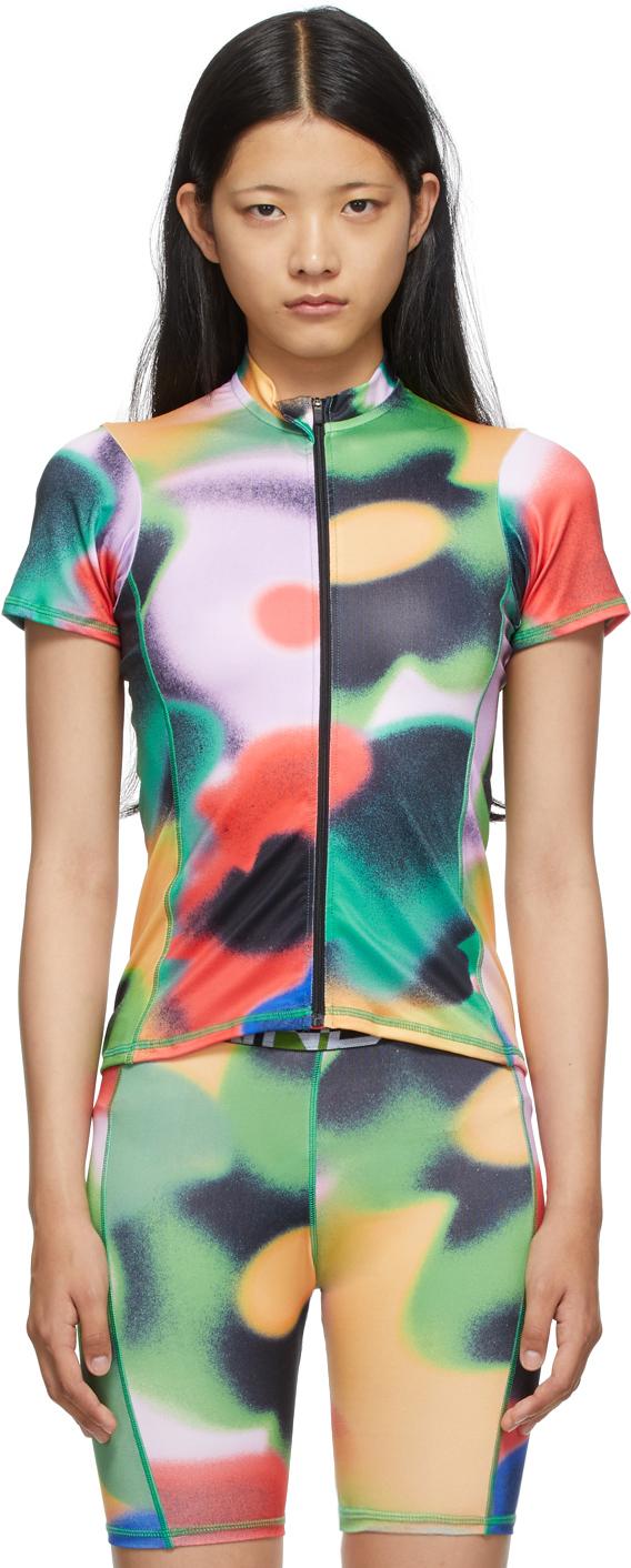 Multicolor Watercolor Cycling Top