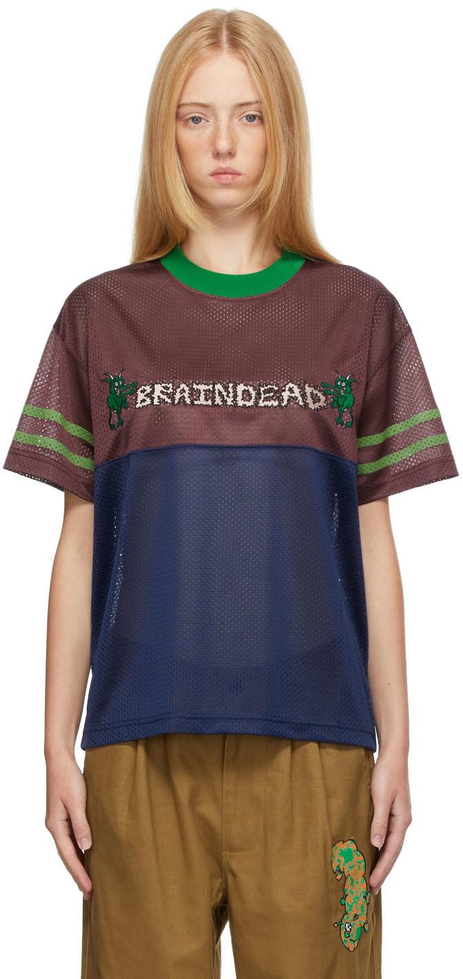 Burgundy & Blue Mesh Football T-Shirt